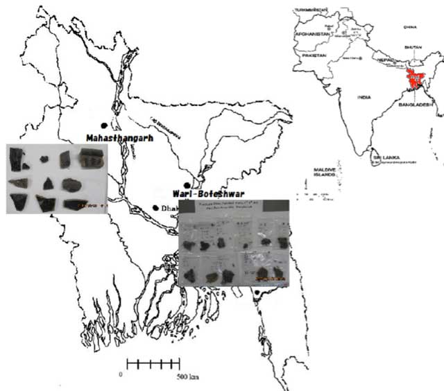 Map showing the two archaeological sites in Bangladesh, called Wari-Bateshwar and Mahasthangarh. NBPW potsherd samples were collected from these two sites
